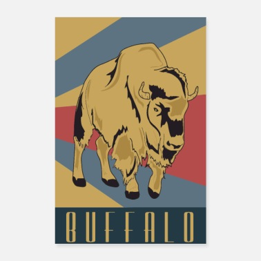 Old School Buffalo Old School Retro Wisent - Poster
