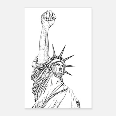 Fist Statue of Liberty, fist held high - Poster 16 x 24 (40x60 cm)