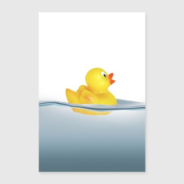 Duck in the water. Bath, swimming - Poster 16 x 24 (40x60 cm)