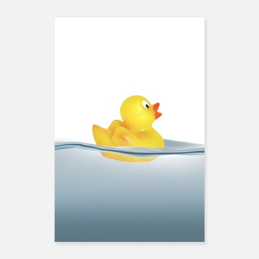 Swim Duck in the water. Bath, swimming - Poster 16 x 24 (40x60 cm)