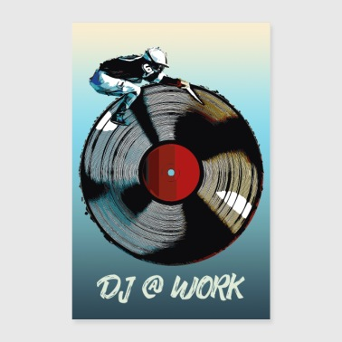 Trance Disc Jockey DJ at work Poster/Shirt/Accessoires - Poster 40x60 cm