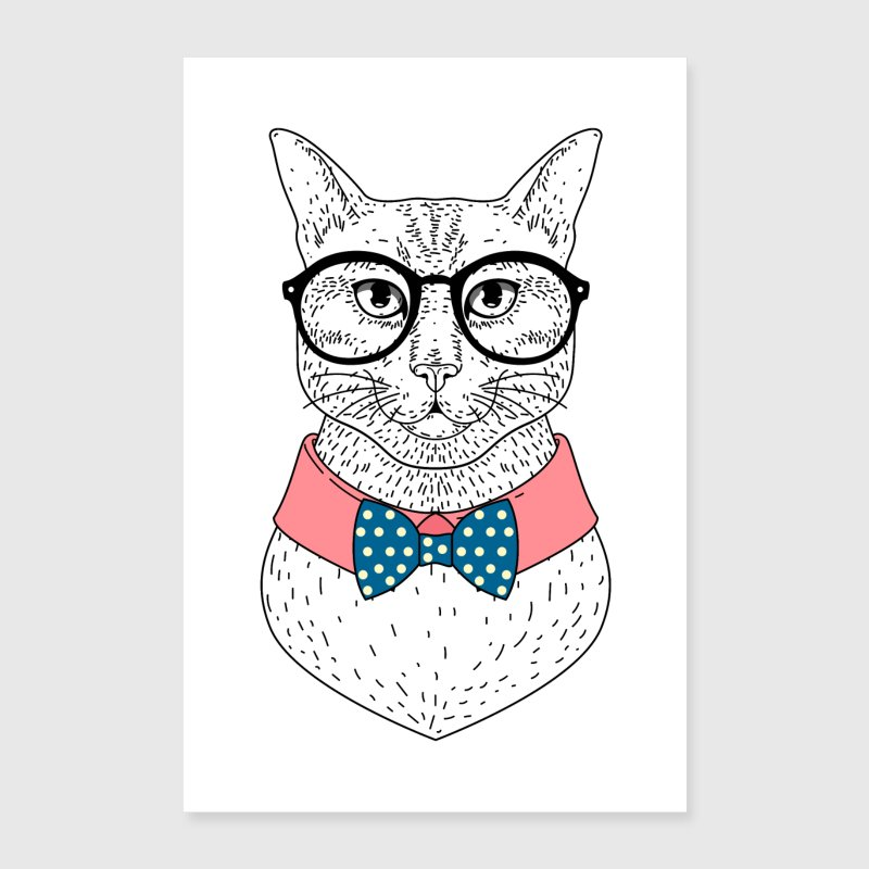Hipster cat with glasses and bow tie - Poster 24 x 35 (60x90 cm)