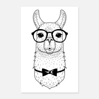 8f5637a86ba33a Hipster Bril Hipster Alpaca met bril en strikje - Poster