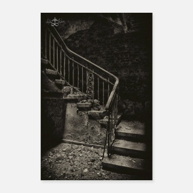Weiß Lost Place - Treppe - Poster