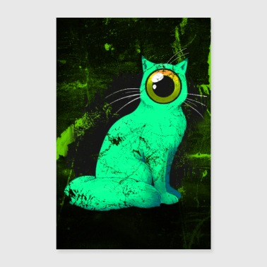 One-eyed Cyclops Cat Weird Poster (groen) - Poster 40x60 cm