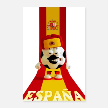 Soccer Ball Spain soccer ball cap russian spanish flag - Poster 16 x 24 (40x60 cm)