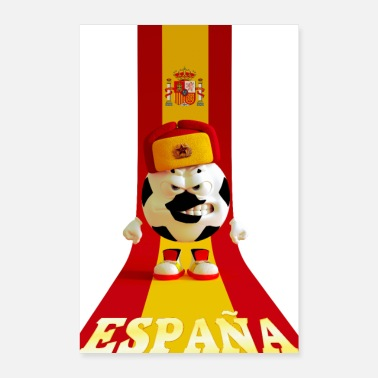 Spanish Spain soccer ball cap russian spanish flag - Poster 16 x 24 (40x60 cm)