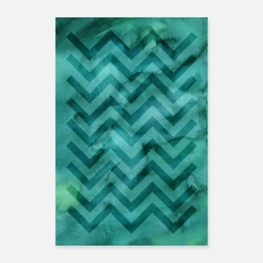 Turquoise Watercolor motif »Zigzag« | turquoise - Poster
