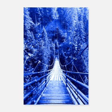Nature Lovers Suspension bridge in nature - poster - Poster