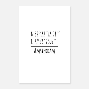 Drive Go By Car Minimal Poster Amsterdam coordinates - Poster 16 x 24 (40x60 cm)