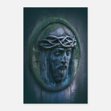 Oval Jesus portrait tombstone moss oval weathered - Poster
