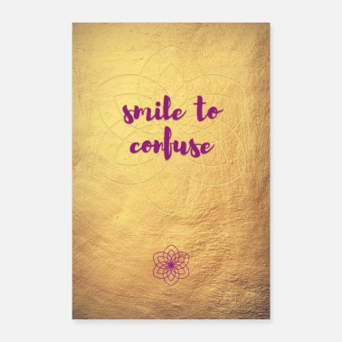Luxury Poster smile to confuse Quote Gold Yoga Mandala - Poster