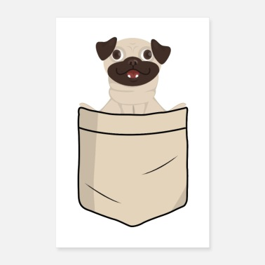 Children Pug in shirt pocket (animal children) - Poster 16 x 24 (40x60 cm)