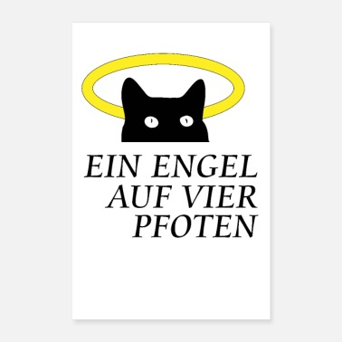 Paw Cat with halo.An angel on four paws - Poster 16 x 24 (40x60 cm)