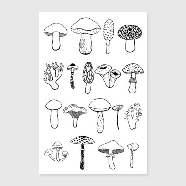 Stencil Mushrooms poster black and white - Poster 16 x 24 (40x60 cm)