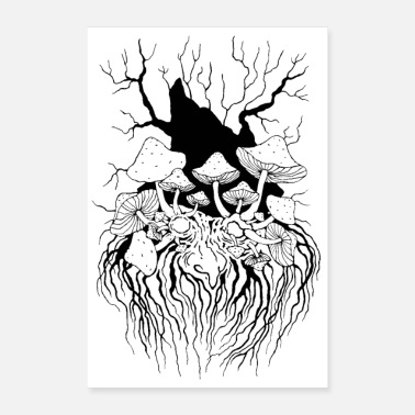 Stencil Forest Spirit Pilzopa Poster black and white - Poster 16 x 24 (40x60 cm)