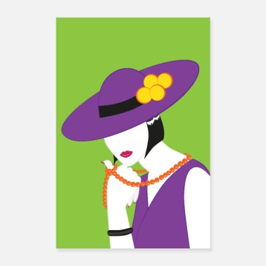 Attractive Madame in violet - Poster 16 x 24 (40x60 cm)