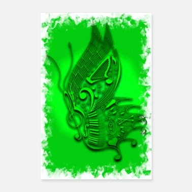 Chant Green music butterfly - Poster 16 x 24 (40x60 cm)