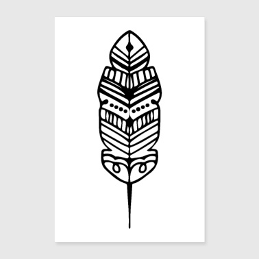 Clan Tribe Feather Shape Maori Tattoo Ancient Tribe - Poster 16 x 24 (40x60 cm)