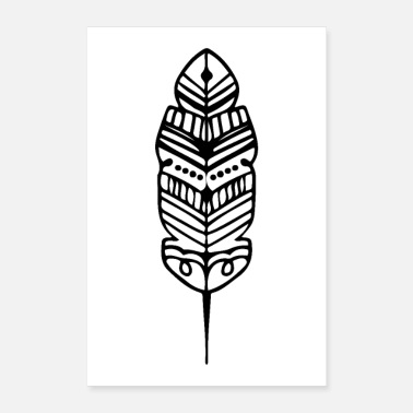Clan Stamm Feder Form Maori Tattoo Ancient Tribe - Poster 40x60 cm
