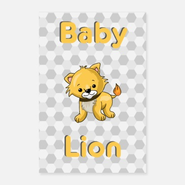 Baby Baby Lion Lion Baby Animal - Poster 40x60 cm