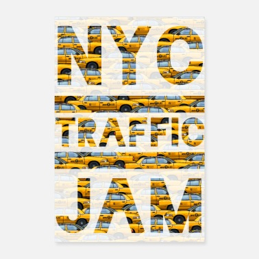 Big Apple NYC traffic jam taxi New york yellow cab big apple - Poster