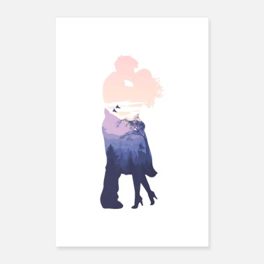 Relationship Kiss love couple silhouette relationship art - Poster 16 x 24 (40x60 cm)