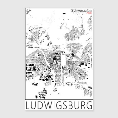 Schwarzplan Ludwigsburg Figureground Diagram - Poster 40x60 cm