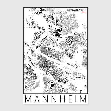 Schwarzplan Mannheim Figureground Diagram - Póster 40x60 cm