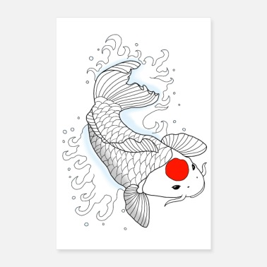 Carpe Poisson Carpe koi du Japon - Poster 40 x 60 cm