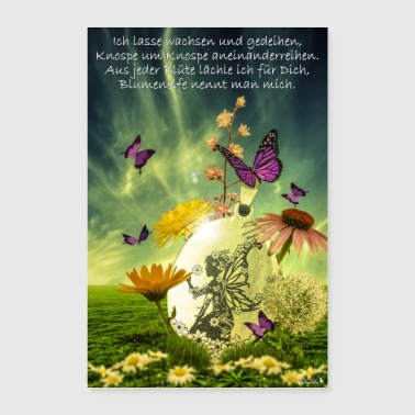 Elf Flower Elf with slogan by Katharina Fairytale - Poster 16 x 24 (40x60 cm)