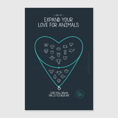 Poster «Expand your love for animals» (blue) - Poster 16 x 24 (40x60 cm)