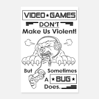 Online Video game nerd gamer illustratie - Poster