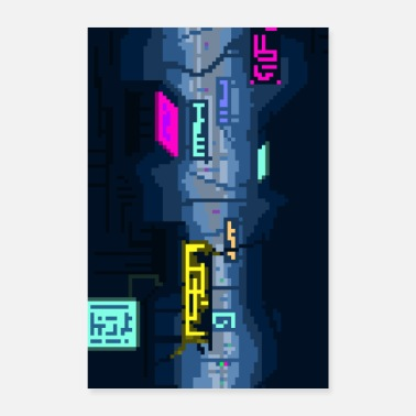 Retrogaming Neon City Pixel Future - Juliste