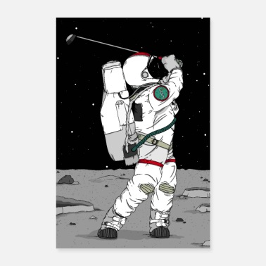 Moon Landing Astronaut golf on the moon - Poster