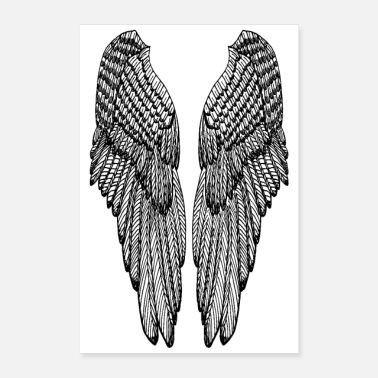 Englevinger Long Black Outline Wings - Poster
