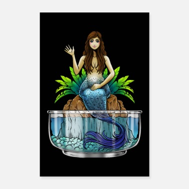 Akvaario Mermaid Illustration | Mythical olento merenneito meri - Juliste 40x60 cm