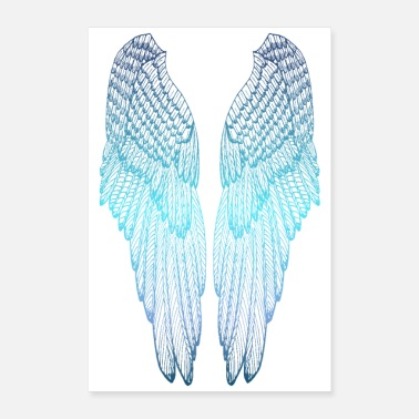 Enkelin Siivet Long Blue Angel Wings - Juliste 40x60 cm