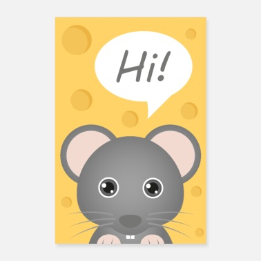 Rodent Cartoon mouse with cheese background - Poster 16 x 24 (40x60 cm)