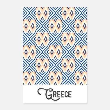 Teal Greece pattern blue oriental pattern tiled - Poster 16 x 24 (40x60 cm)