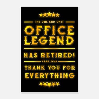 Rente Office Legend Retirement 2018 Gold - Poster 40x60 cm