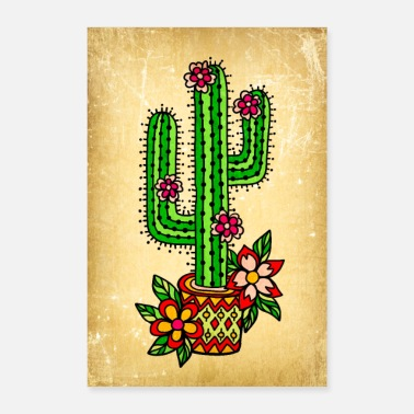 Old School Cactus con flores Vintage Old School Tattoo Style - Póster 40x60 cm