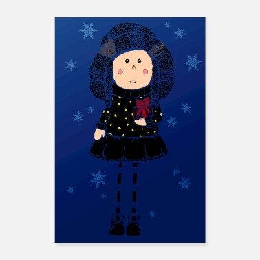 Weihnachtsstern little girl in black Winterzauber - Poster