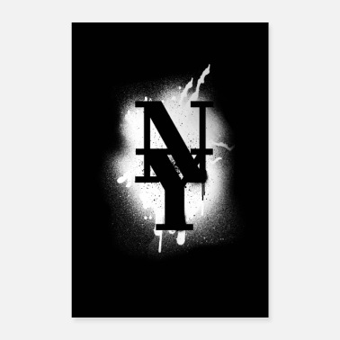 Nyc NY County Mets - New York Graffiti White Design - Poster 40x60 cm