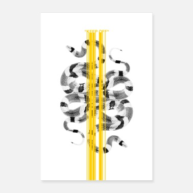 Graphic Art BLIJF UIT Wit Snake Design Graphic - Poster 40x60 cm