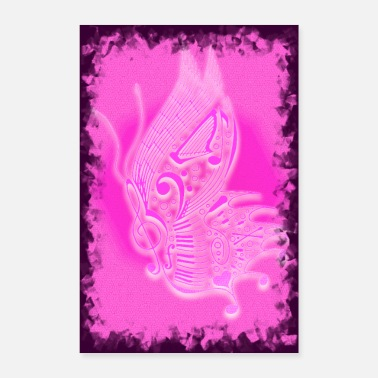 Gesang music butterfly pink 2 - Poster 40x60 cm