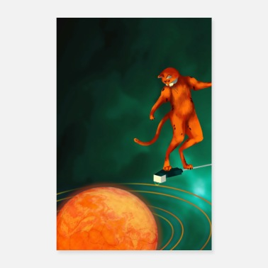 Univers Space Cat Surf - Poster