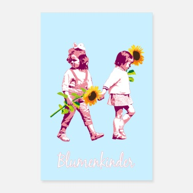 Stencil Flower children | Two girls with sunflowers - Poster