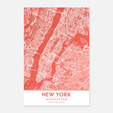 Nyc Coral Blush Pink Decor showing Manhattan NYC USA - Poster