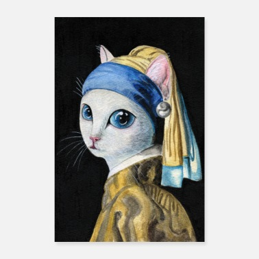 Cat with a Pearl Earring - Poster